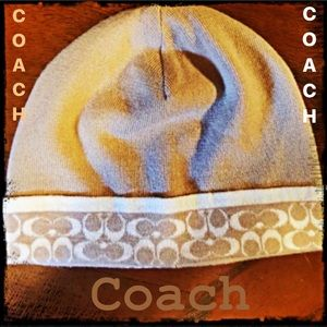 Coach Beanie Hat Beige Gold 1 Size Fits All Rare